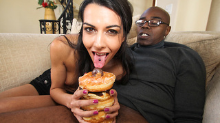 I love french girls. Thats why Lou Charmelle showed up I nearly creamed my pants. She brought Doughnuts too. BUt She had other things in mind for her pastries. Thinking it would be a good idea to measure a monster in the amount of doughnuts, to see just h