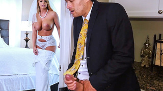 Brooklyn Chase gets spied on as she put on her wedding dress by her soon to be step son. She catches him and quickly invites him in the room for her last ride. This busty chick gives a great blowjob with tit fucking before she tells the guy to start fucki