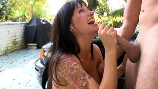 We got another Euro soup for you today! Angie Noir brings her European fun bags on over for a good time!  She said she was a little nervous., but showed up going commando! Nervous my ass!  She spread her legs in the car and displayed her lovely Euro flowe