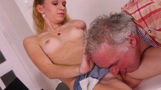 Younger babes simply love to get attention from the older guys these days. Rosy couldn't get much more attention than this however, the old guy has his cock rammed in her pussy for Christ's sake!