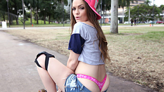 Jaw dropping small skater babe Monica Rise has her little pussy fucked by a dude who helped her up in the park