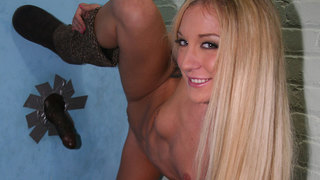 A second helping of big black cock is what the doctor ordered for Amy Brooke. Last time we saw this sultry and seductive blonde it was in a public restroom where her discriminating palate welcomed its first black cock. The dreams Amys had since then have