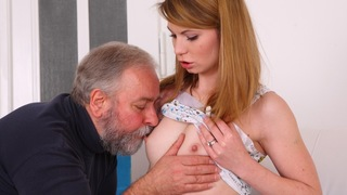 Sveta kneels to get her older mans cum all over her chest and mouth. She has been fucked in many different ways by her older lover as she is his younger lover today.