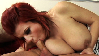 Silvy is beautiful! Shes a red-head with massive tits, a pretty pink pussy and a huge juicy ass. Frenky loves women with big tits. He has fun with her. He fucked her hard from all angles. Then busted a huge nut all over her face. Wow!