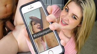 Today we give you a small glimpse on how we do things behind the scenes. Stacey is a 18yo that comes by ready to her first porn movie. This girl is a cutie, a shy cutie at that. Bruno ends up taking care of her today, so we get to see her sucking and fuck