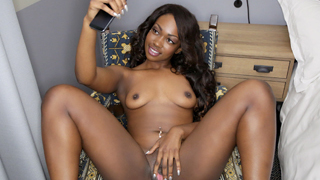 20 yr old hot sexy black chick from Orlando Florida Skyler Nicole gets a messy facial all over her cocoa face and mocha lips after getting fucked by a big white cock.
