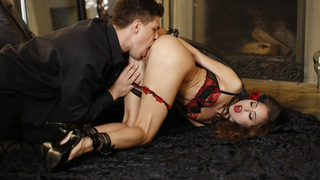 Charming Riley Reid is dressed to kill in a tight microskirt and a leather halter top for Bruce Venture's birthday. Her gift is even more intriguing than her sensual outfit, and Bruce puts it to use immediately as he attaches the collar and leash to Riley