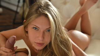 Sensual babe Ebbi and her man Artem Turkov are enjoying a quiet evening on the couch when Artem's wandering hands clue Ebbi in that her man wants much more than that. When Ebbi's nipples harden and she responds to his advances with a smile and a sigh of p