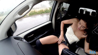 It's raining out, so the driver pulls over to see if Kimberly Gates wants a ride. She's hesitant at first, but soon she is baring her soul to the driver. Kimberly's boyfriend wants her to get a boob job, so she asks the driver's opinion of her small tits